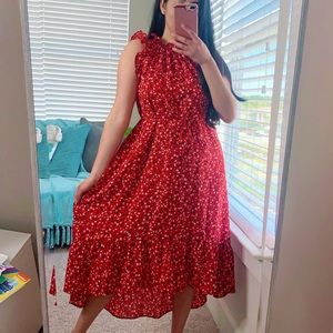 WHO WHAT WEAR Red Floral High Low Dress S